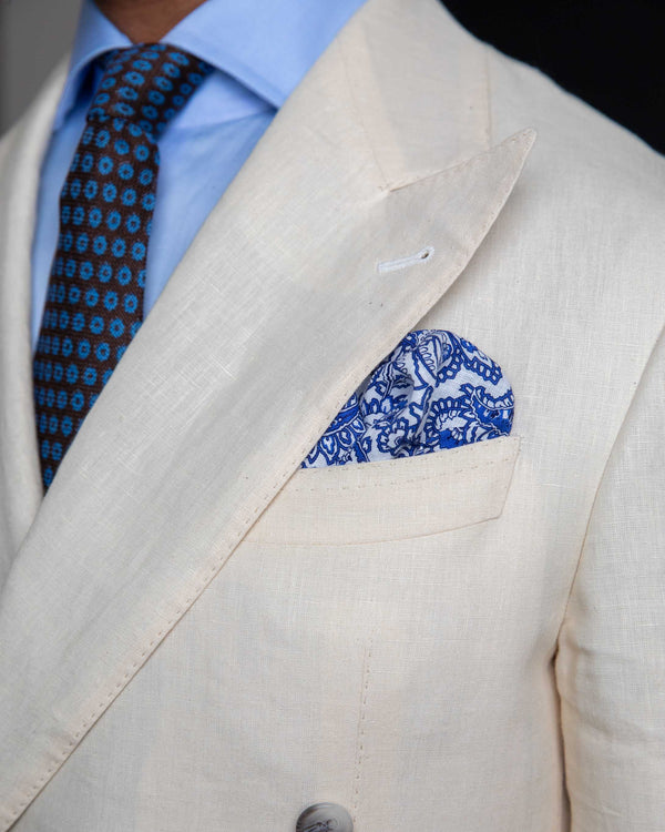 Linen Pocket Square -Blue & White Paisley
