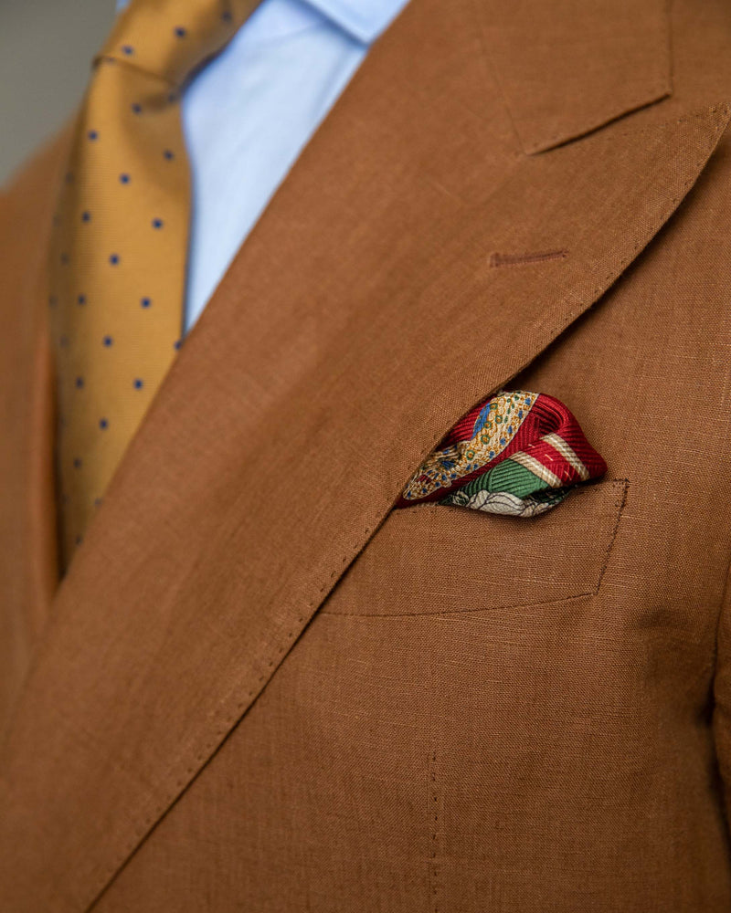 Pocket Square -Green and Maroon