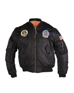 Black MA1® Kids Flight Jacket with Patches