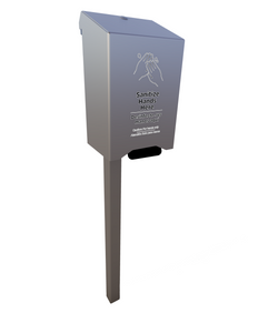 Manual Bottom Pump Outdoor Hand Sanitizer Dispenser w/o Receptacle, In-ground Mount (w/1000 ml sanitizer included)