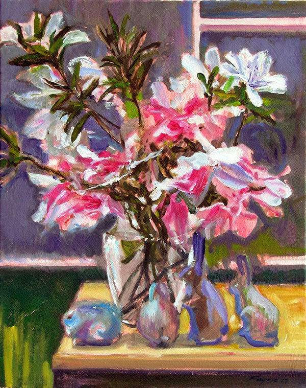 "Azalea Still Life with Figurines, oil on canvas, 20"" x 16"" - PaulFayard"