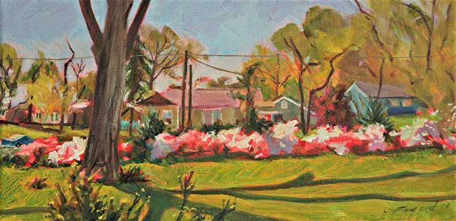 "Azaleas In Olde Towne, oil on canvas, 12"" x 9"" - PaulFayard"