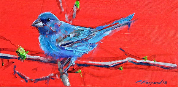"Blue Canary, oil on canvas, 6"" x 12"" - PaulFayard"