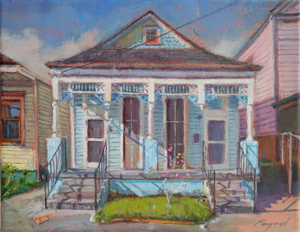 "Blue Valentines, New Orleans Double Shotgun, oil on canvas, 11"" x 14"" - PaulFayard"