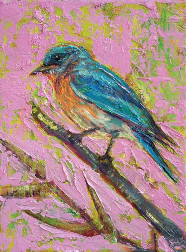 Bluebird on Bamboo, oil on canvas - PaulFayard
