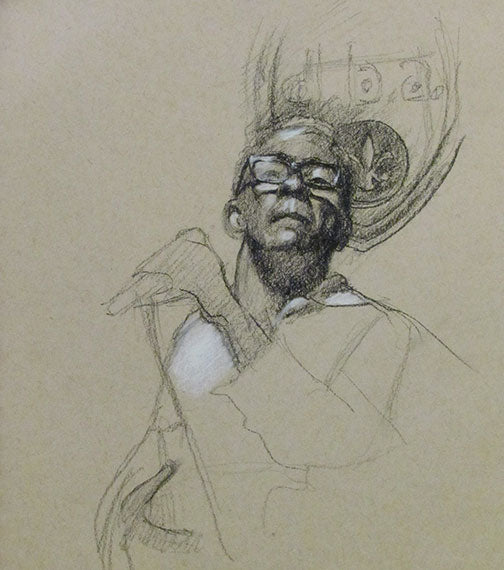"John Boutté at d.b.a., version 2, charcoal on colored paper, 7"" x 8"" - PaulFayard"