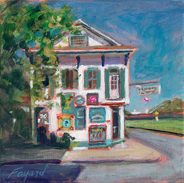 "Breakfast at Elizabeth's, New Orleans, oil on canvas, 5"" x 5"" - PaulFayard"