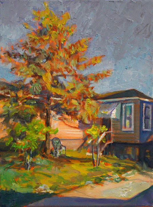 "Bungalow with Cypress, oil on canvas, 12"" x 9"" - PaulFayard"