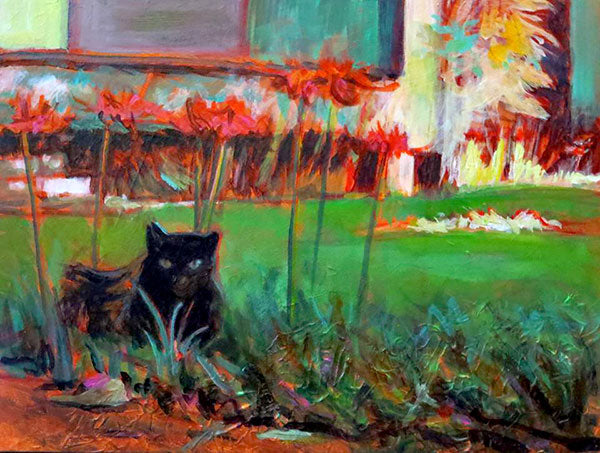Cat With Lilies 2, oil on canvas - PaulFayard