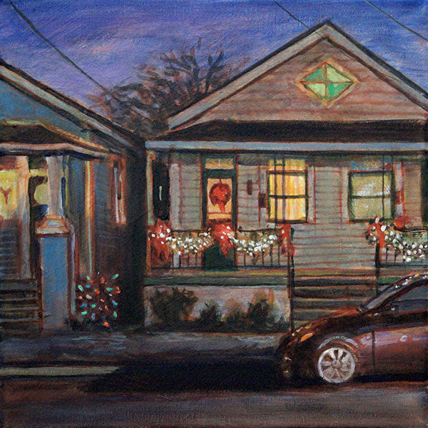 "Double Shotgun Christmas, acrylic on canvas, 12"" x 12"" - PaulFayard"
