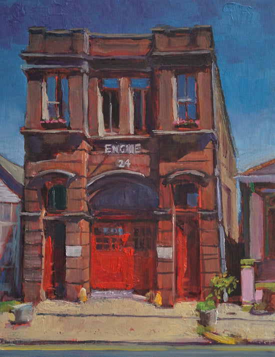 "Engine 24 French Quarter Firehouse, oil on canvas, 12"" x 9"" - PaulFayard"