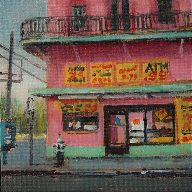"Gene's Po-Boys, New Orleans, oil on canvas, 5"" x 5"" - PaulFayard"