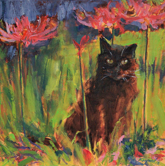 "Higanbana (Cat with Lilies), oil on canvas, 12"" x 12"" - PaulFayard"