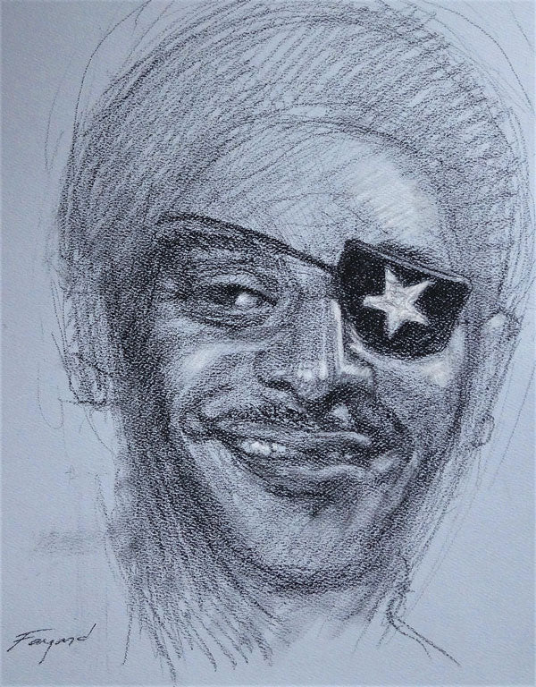 "James Booker, charcoal on colored paper, 14"" x 11"" - PaulFayard"