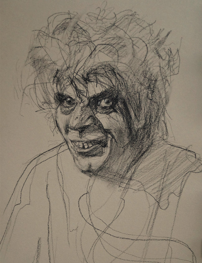 "Morgus the Magnificient, charcoal on paper, 16"" x 12"" - PaulFayard"
