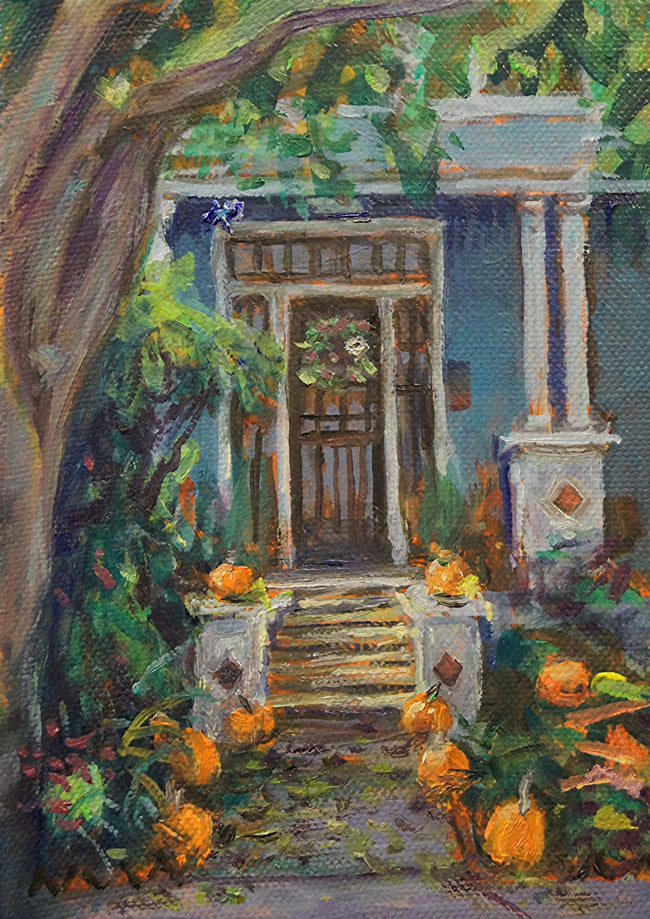 "Pumpkin Porch, New Orleans, oil on canvas, 5"" x 7"" - PaulFayard"
