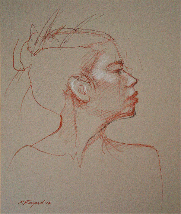 "Right Profile (portrait), Conté pencil and charcoal on colored paper, 14"" x 12"" - PaulFayard"