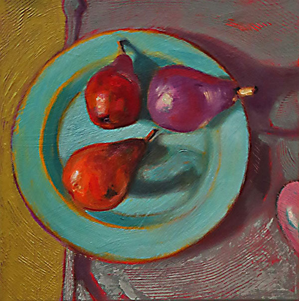 Pears on Plate, oil on canvas, sold - PaulFayard