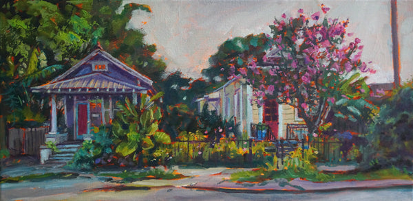 Plum Street Twilight - West, New Orleans, oil on canvas, 10″ x 20″ - PaulFayard