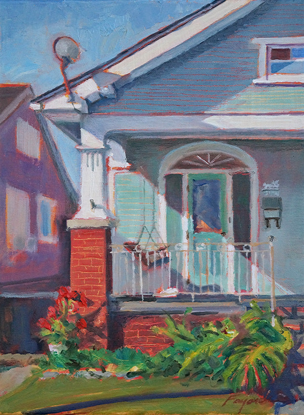 "Porch Sitting, oil on canvas, 12"" x 9"" - PaulFayard"