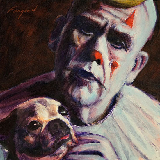 "Puddles Pity Puppy, oil on canvas, 8"" x 8"" - PaulFayard"