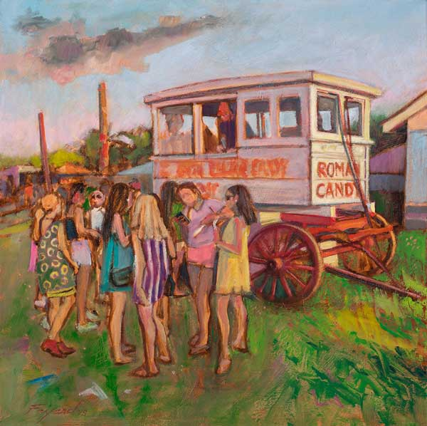 "Girls at the Roman Candy Wagon, oil on canvas, 20"" x 20"" - PaulFayard"