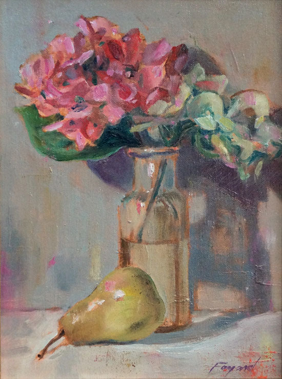 "Still Life with Pear, oil on canvas, 12"" x 9"" - PaulFayard"