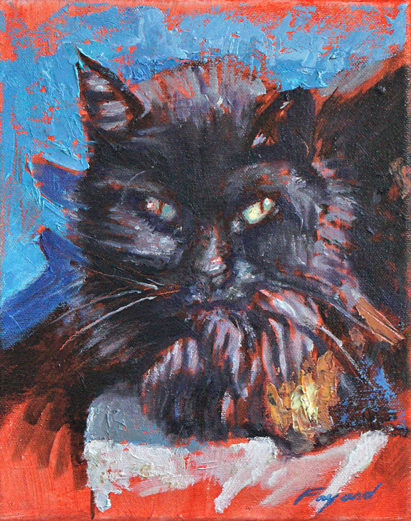 "Cat Portrait 2 (Suzie Q), oil on canvas, 10"" x 8"" - PaulFayard"