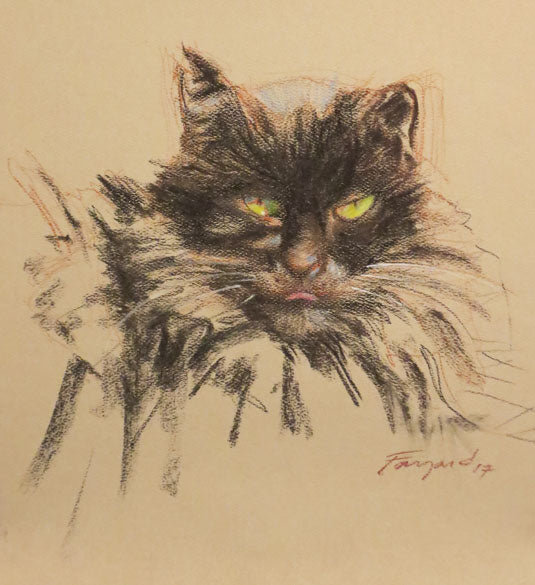 "Cat portrait (Suzie Q), charcoal on colored paper, 7.5"" x 8.125"" - PaulFayard"