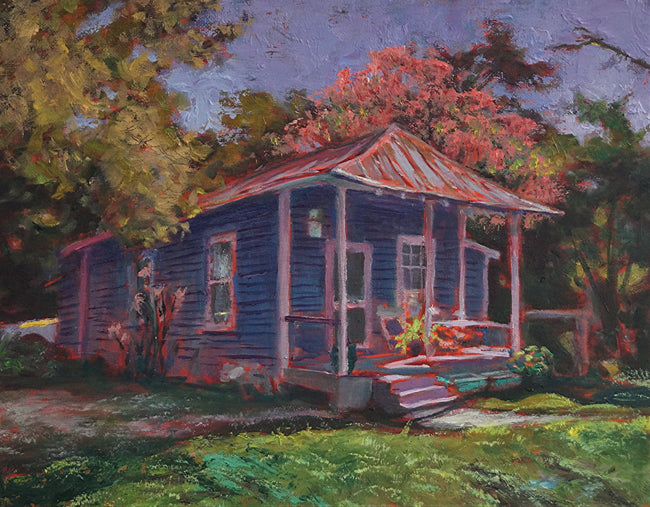 "Tin Roof, Golden Rain - oil on canvas panel, 11""x 14"" - PaulFayard"