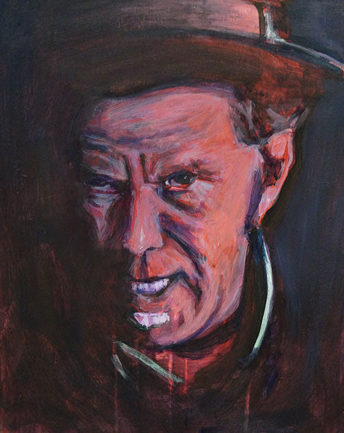 "Tom Waits, mixed media on panel, 14"" x 11"" - PaulFayard"