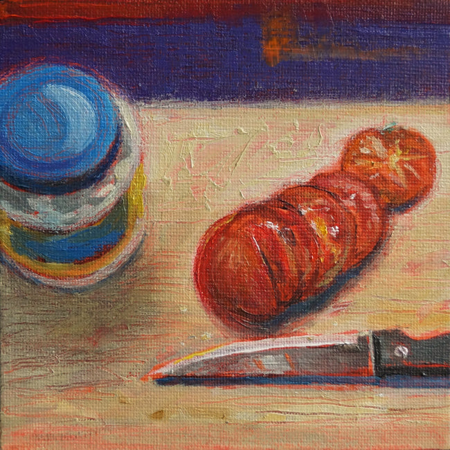 "Tomato, Mayo, and Knife, oil on canvas, 5"" x 5"" - PaulFayard"