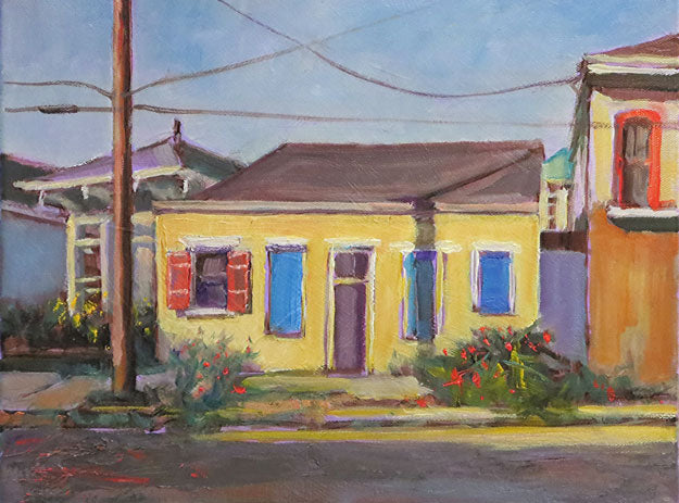 "Yellow Bungalow, New Orleans, oil on canvas, 11"" x 14"" - PaulFayard"