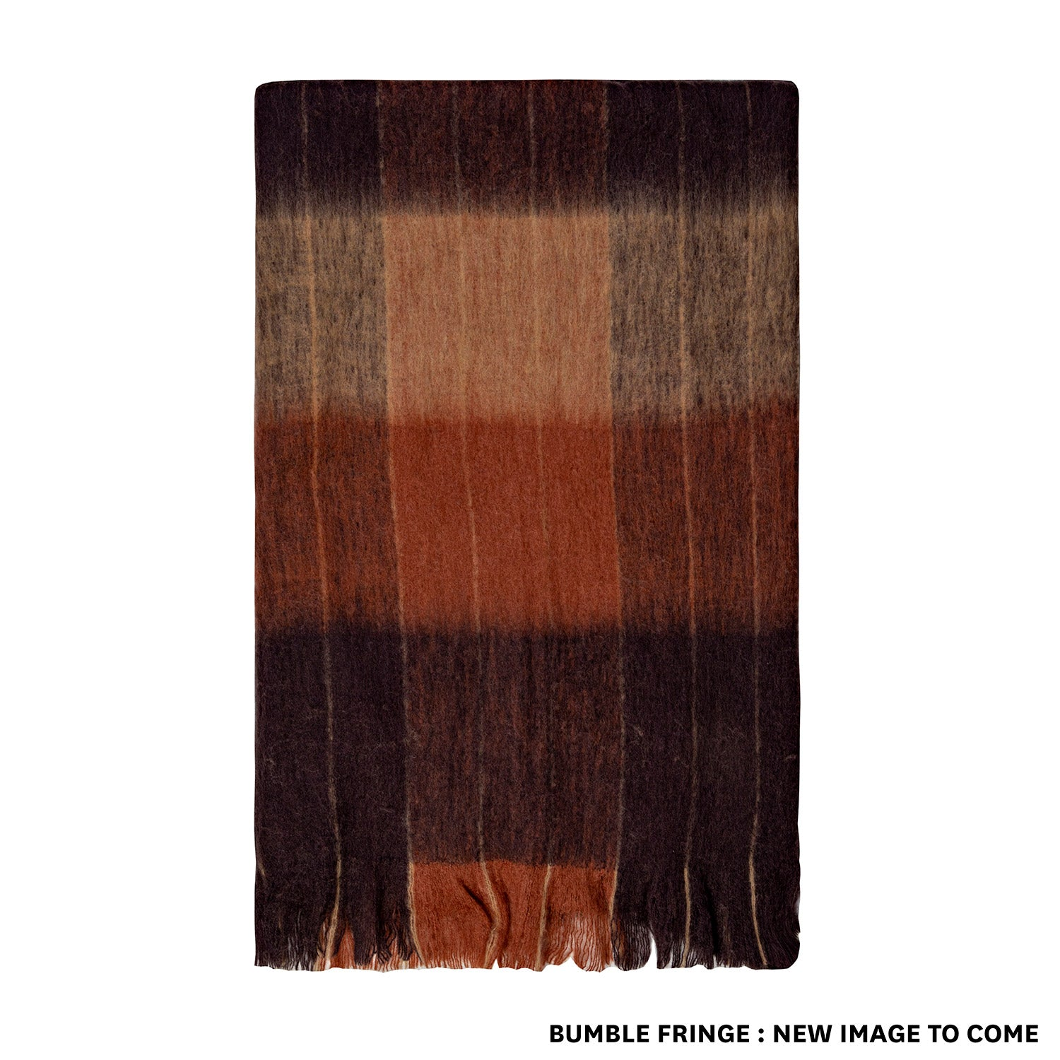 BLISS PENCIL STRIPE THROW, BUMBLE FRINGE, COFFEE, CAMEL, MOCHA