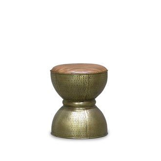 Chandri Brass and Leather Stool