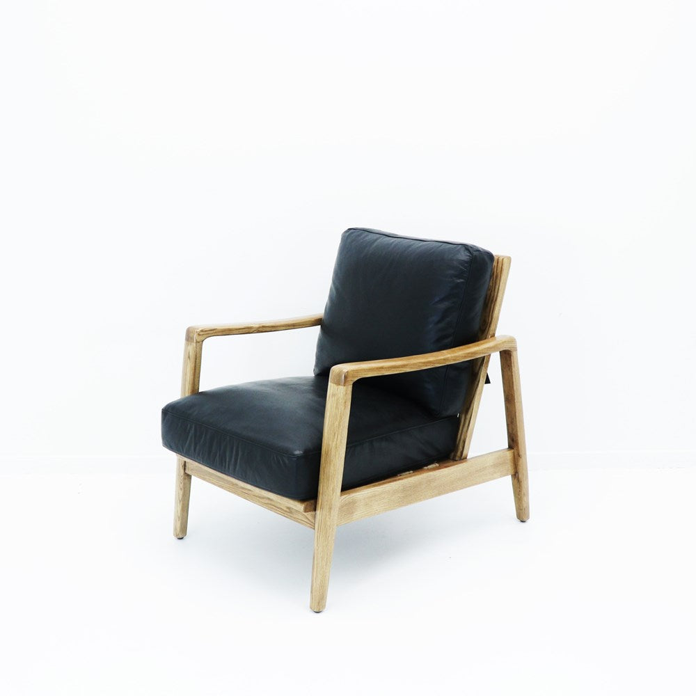 Reid Armchair Black Leather - Natural Frame