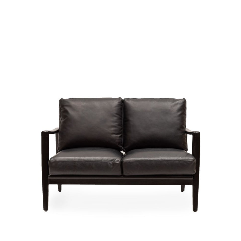 Reid 2 Seat Sofa - Black Leather - Black Frame