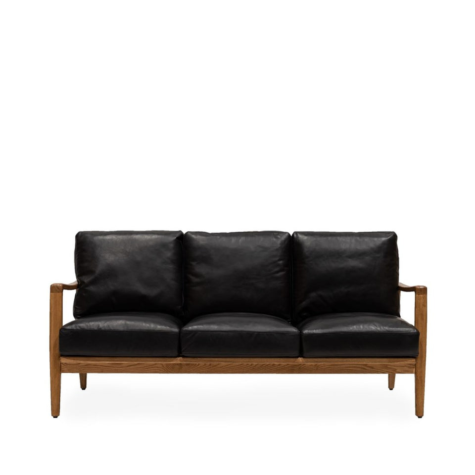 Reid 3 Seat Sofa - Black Leather - Natural Frame