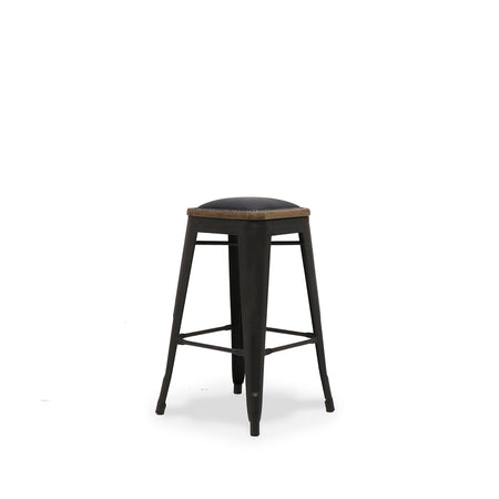 Colonial Stool 65cm Leather Seat