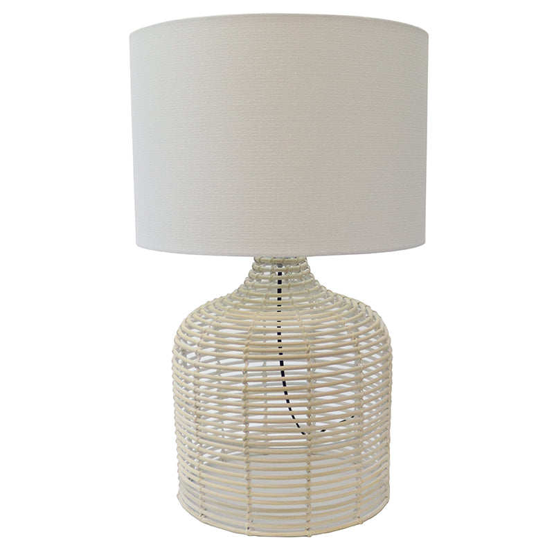 Rattan Weave Table Lamp  White
