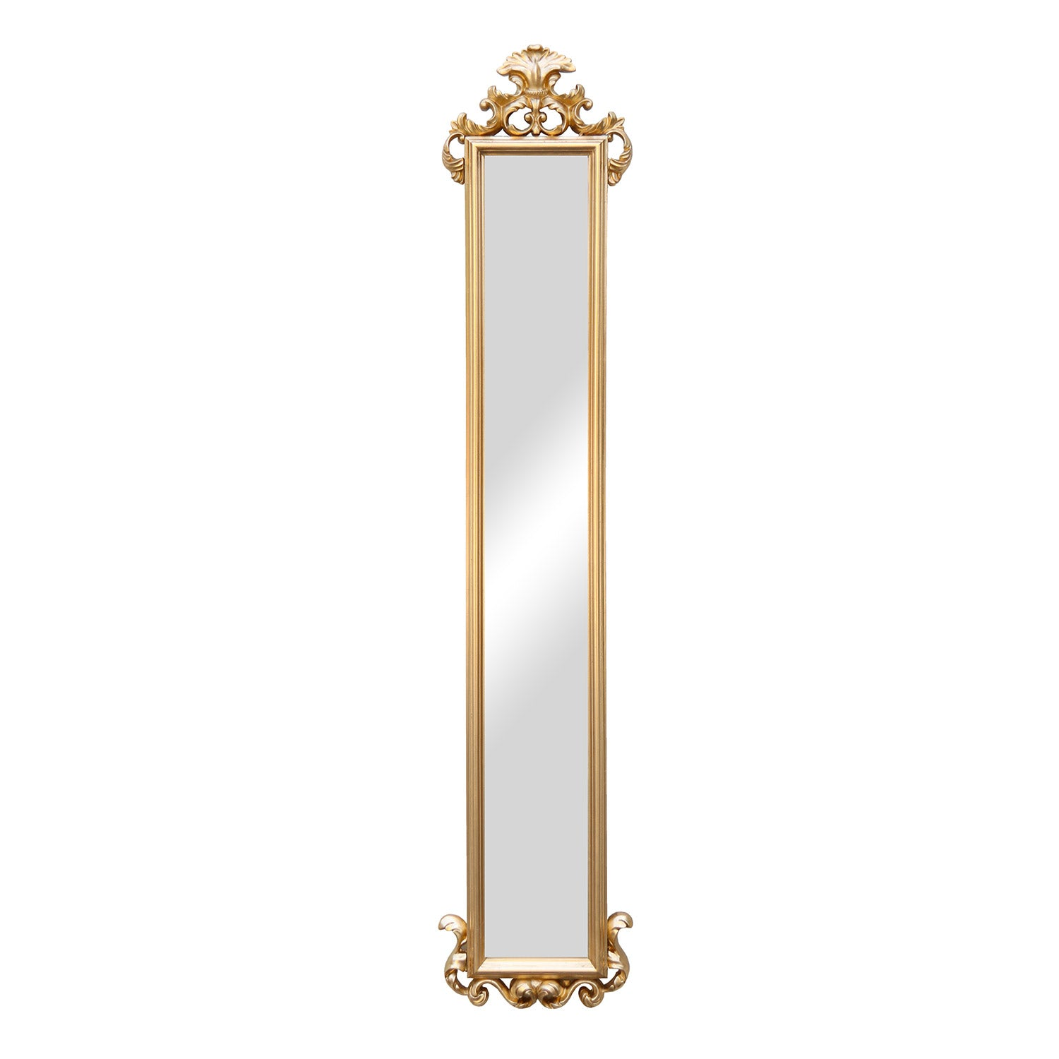 BEVELED DRESS MIRROR 1295 X 270MM GOLD