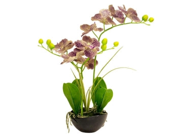 3  Stems Real Touch Orchid In Black Pot