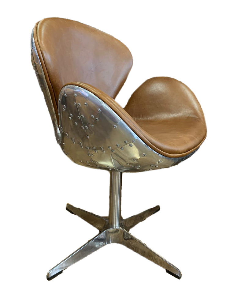 BOSTON SWIVEL CHAIR CUBA BROWN/ALUMINIUM
