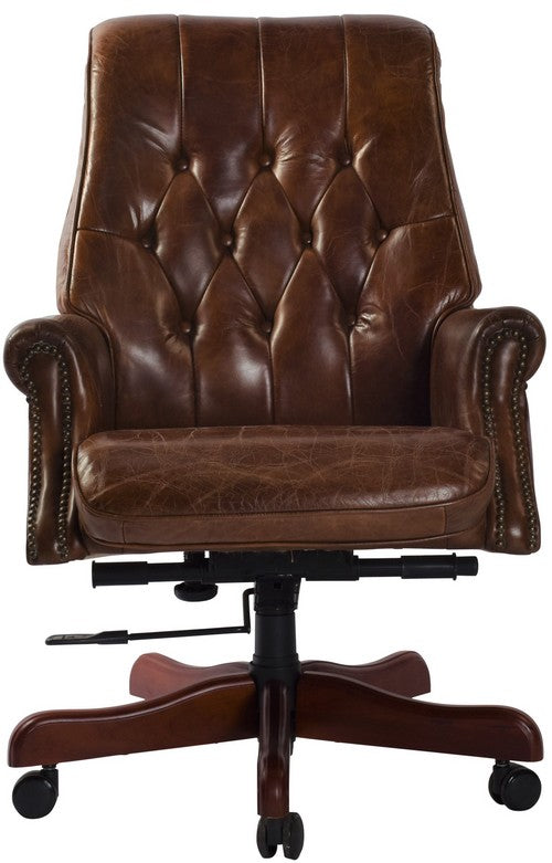 BANKERS ADJUSTABLE CHAIR - VINTAGE CIGAR BROWN