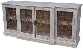 4 DOOR BUFFET W/ METAL FILIGREE OLD PINE/GREY WASH