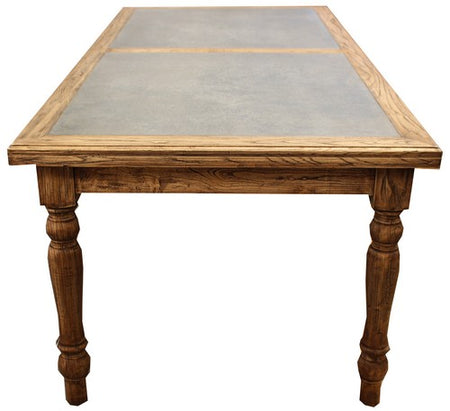 DINING TABLE ZINC PANEL TOP - OLD ELM ZINC TOP