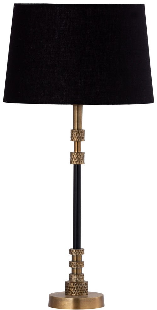 TABLE LAMP & SHADE - BLACK W/BRASS ANTIQUE / BLACK COTTON
