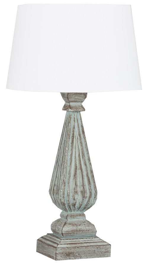 TABLE LAMP & SHADE - LT GREEN WASH / WHITE LINEN