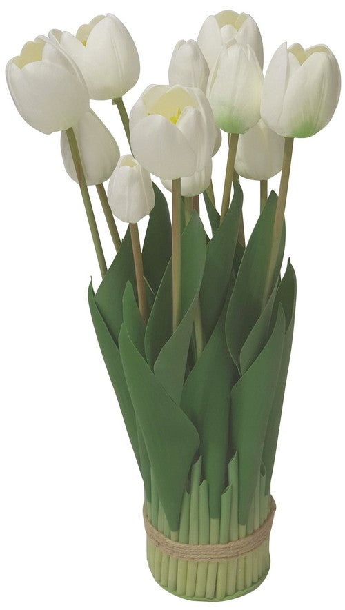 WHITE TULIP ARRANGEMENT - 9 HEAD