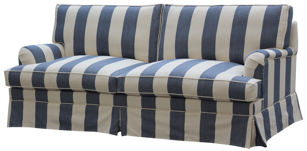 DAYTONA 100% FEATHER & FOAM FILLED SOFA 3 SEATER  - STRIPED BLUE LINEN, DUE END AUGUST